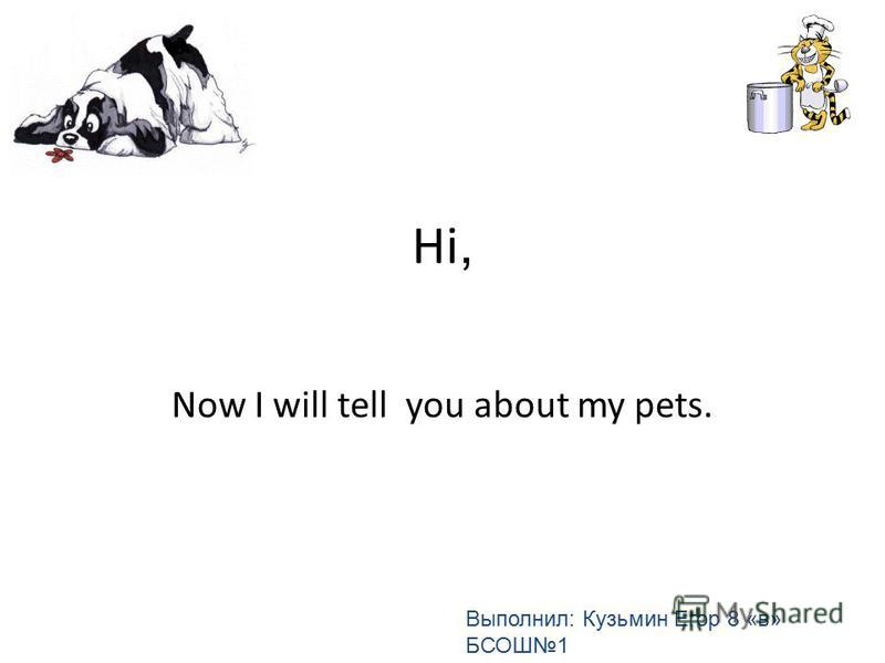 Hi, Now I will tell you about my pets. Выполнил: Кузьмин Егор 8 «в» БСОШ1