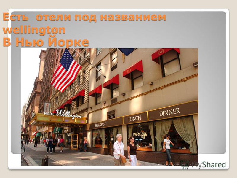 Есть отели под названием wellington В Нью Йорке