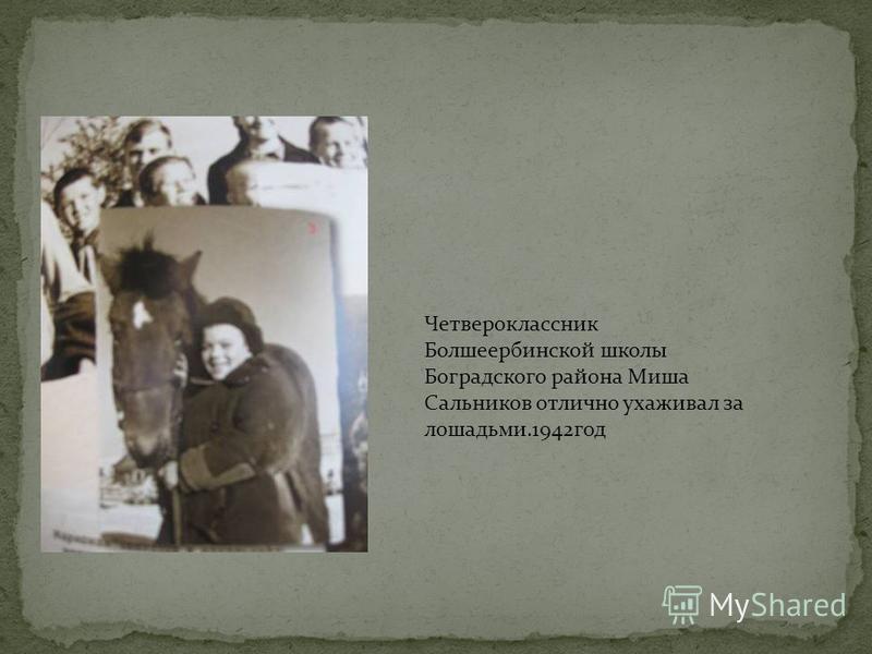 Четвероклассник Болшеербинской школы Боградского района Миша Сальников отлично ухаживал за лошадьми.1942 год