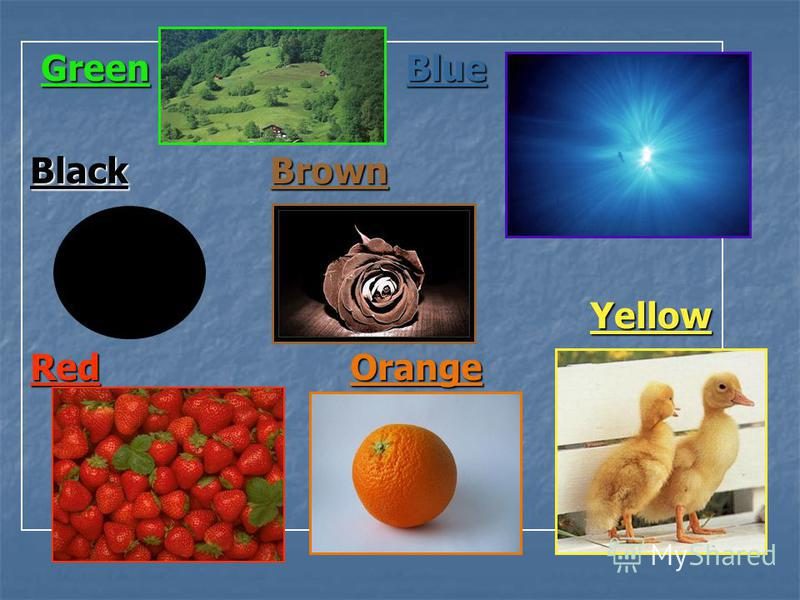 Green Blue Green Blue BlackBrown Yellow RedOrange