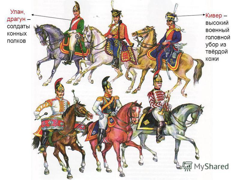 Кивер – высокий военный головной убор из твёрдой кожи Улан, драгун – солдаты конных полков