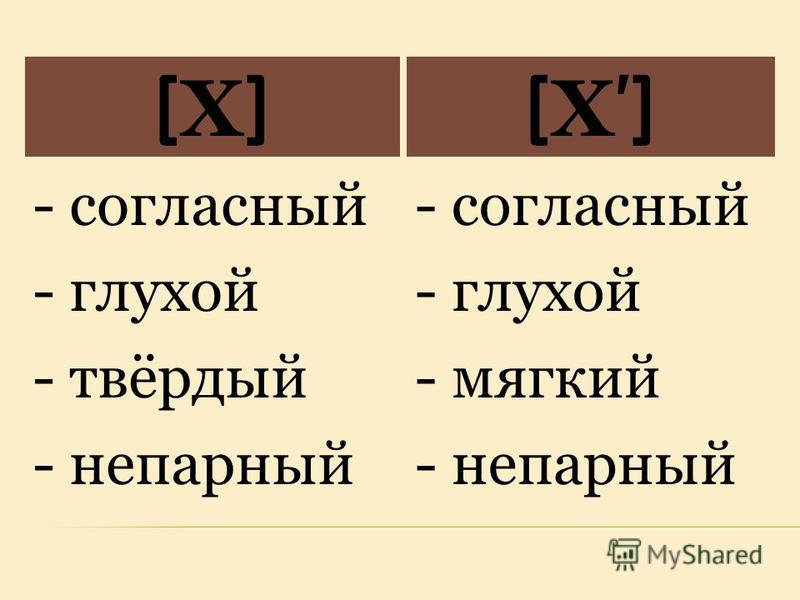 [Х][Х][Х][Х] - согласный - глухой - твёрдый - непарный - согласный - глухой - мягкий - непарный