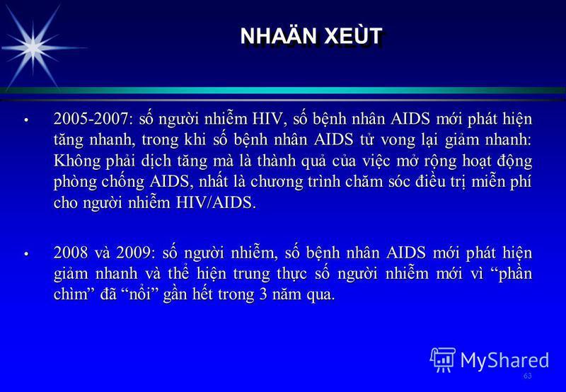 63 NHAÄN XEÙT 2005-2007: s ngưi nhim HIV, s bnh nhân AIDS mi phát hin tăng nhanh, trong khi s bnh nhân AIDS t vong li gim nhanh: Không phi dch tăng mà là thành qu ca vic m rng hot đng phòng chng AIDS, nht là chương trình chăm sóc điu tr min phí cho n