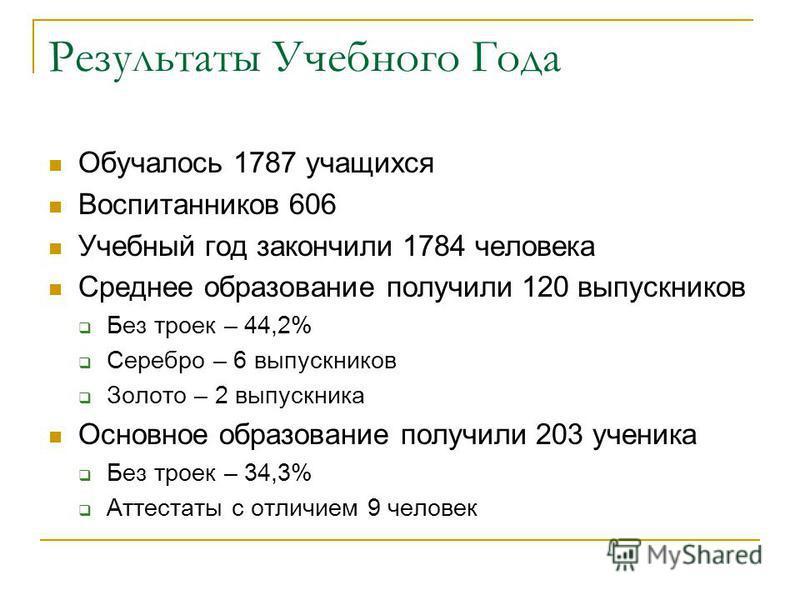 Результаты Учебного Года Обучалось 1787 учащихся Воспитанников 606 Учебный год закончили 1784 человека Среднее образование получили 120 выпускников Без троек – 44,2% Серебро – 6 выпускников Золото – 2 выпускника Основное образование получили 203 учен
