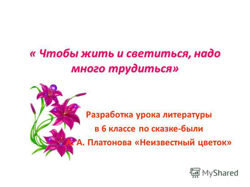 « Чтобы жить и светиться, надо много трудиться» Разработка урока литературы в 6 классе по сказке-были А. А. Платонова «Неизвестный цветок»