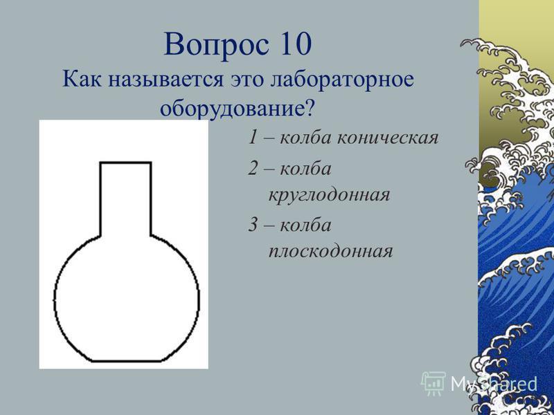 Вопрос 9 Для чего используется этот прибор? 1 – для выпаривания 2 – для проведения реакций в большом объеме 3 – для получения осадков