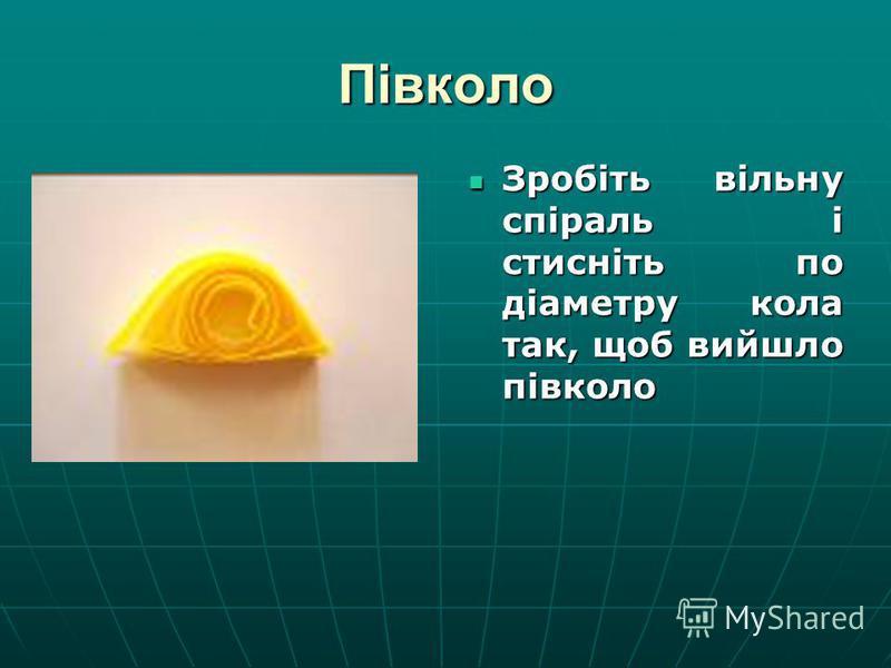 Півколо Зробіть вільну спіраль і стисніть по діаметру кола так, щоб вийшло півколо Зробіть вільну спіраль і стисніть по діаметру кола так, щоб вийшло півколо