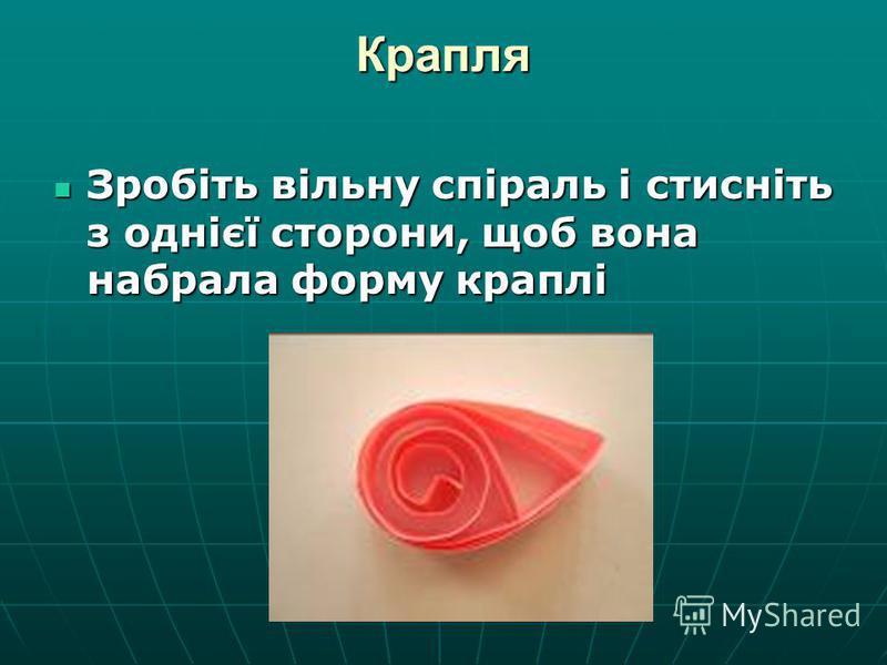 Крапля Зробіть вільну спіраль і стисніть з однієї сторони, щоб вона набрала форму краплі Зробіть вільну спіраль і стисніть з однієї сторони, щоб вона набрала форму краплі