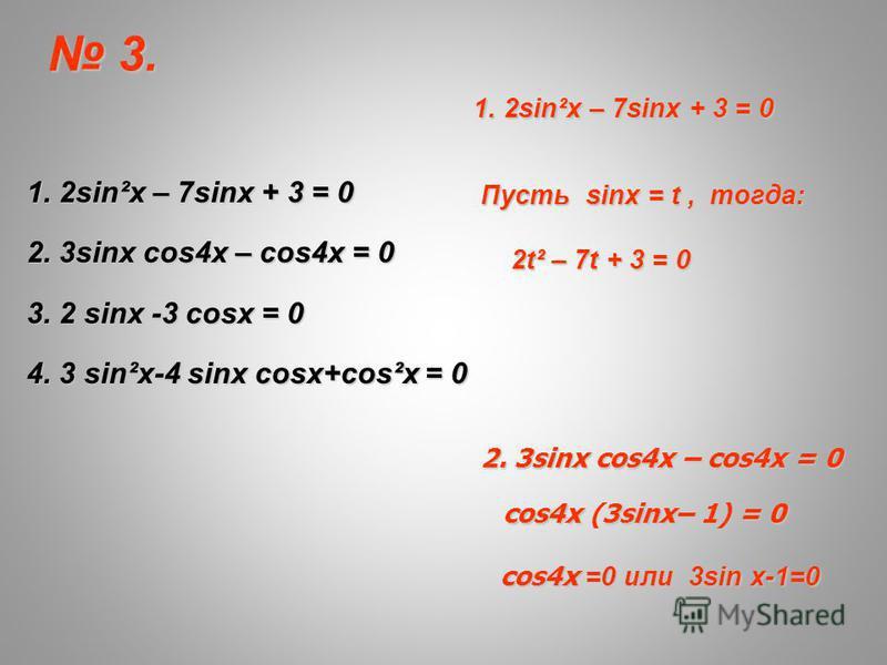 1. 2sin²x – 7sinx + 3 = 0 2. 3sinx cos4x – cos4x = 0 3. 2 sinx -3 cosx = 0 4. 3 sin²x-4 sinx cosx+cos²x = 0 1. 2sin²x – 7sinx + 3 = 0 Пусть sinx = t, тогда: 2t² – 7t + 3 = 0 2t² – 7t + 3 = 0 2. 3sinx cos4x – cos4x = 0 cos4x3sinx– 1) = 0 cos4x (3sinx–