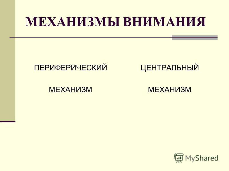 МЕХАНИЗМЫ ВНИМАНИЯ ПЕРИФЕРИЧЕСКИЙ МЕХАНИЗМ ЦЕНТРАЛЬНЫЙ МЕХАНИЗМ