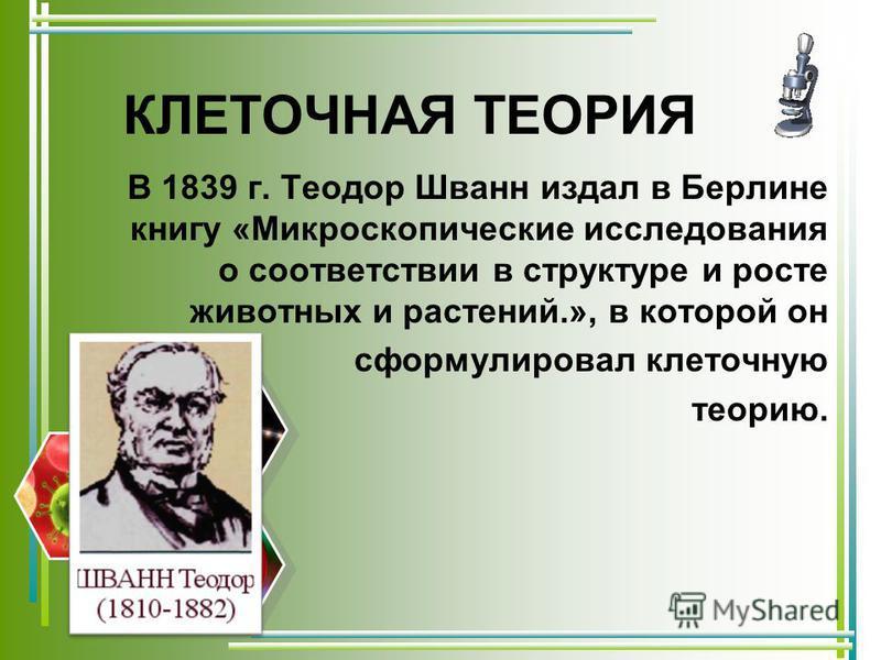 КЛЕТОЧНАЯ ТЕОРИЯ В 1839 г. Теодор Шванн издал в Берлине книгу «Микроскопические исследования о соответствии в структуре и росте животных и растений.», в которой он сформулировал клеточную теорию.