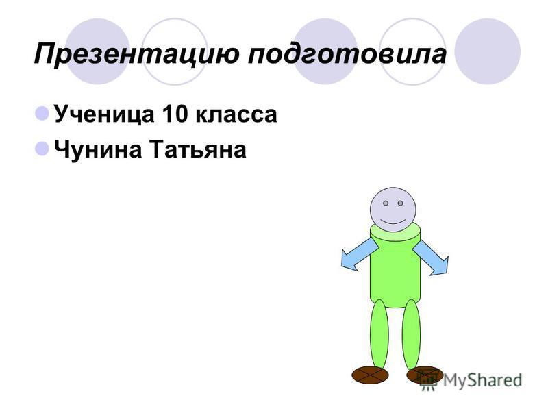 Презентацию подготовила Ученица 10 класса Чунина Татьяна
