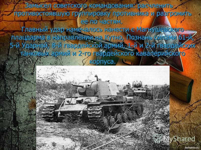 Замысел советского командования: расчленить противостоявшую группировку противника и разгромить ее по частям. Главный удар намечалось нанести с Магнушевского плацдарма в направлении на Кутно, Познань силами 61-й, 5-й Ударной, 8-й гвардейской армий, 1