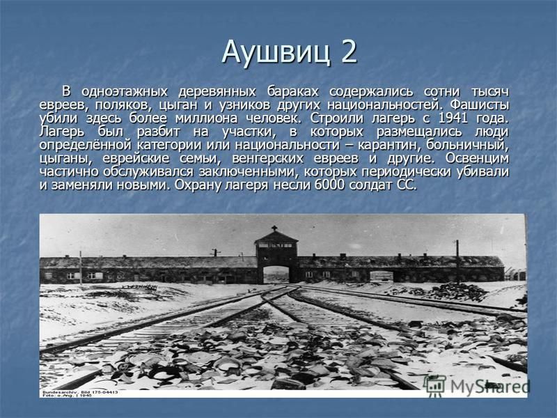Аушвиц 2 В одноэтажных деревянных бараках содержались сотни тысяч евреев, поляков, цыган и узников других национальностей. Фашисты убили здесь более миллиона человек. Строили лагерь с 1941 года. Лагерь был разбит на участки, в которых размещались люд