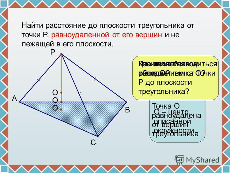 Найти расстояние до плоскости треугольника от точки P, равноудаленной от его вершин и не лежащей в его плоскости. P A B C Что является расстоянием от точки Р до плоскости треугольника? О О О Где может находиться точка О? Каким свойством обладает точк