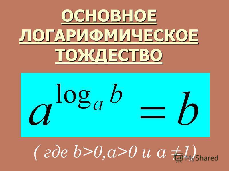 ОСНОВНОЕ ЛОГАРИФМИЧЕСКОЕ ТОЖДЕСТВО ( где b>0,a>0 и a 1)