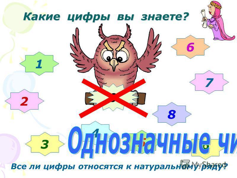Какие цифры вы знаете? 1 2 3 4 5 6 7 8 9 0 Все ли цифры относятся к натуральному ряду?