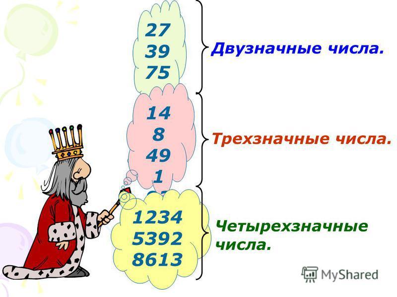27 39 75 Двузначные числа. 14 8 49 1 93 7 Трехзначные числа. 1234 5392 8613 Четырехзначные числа.