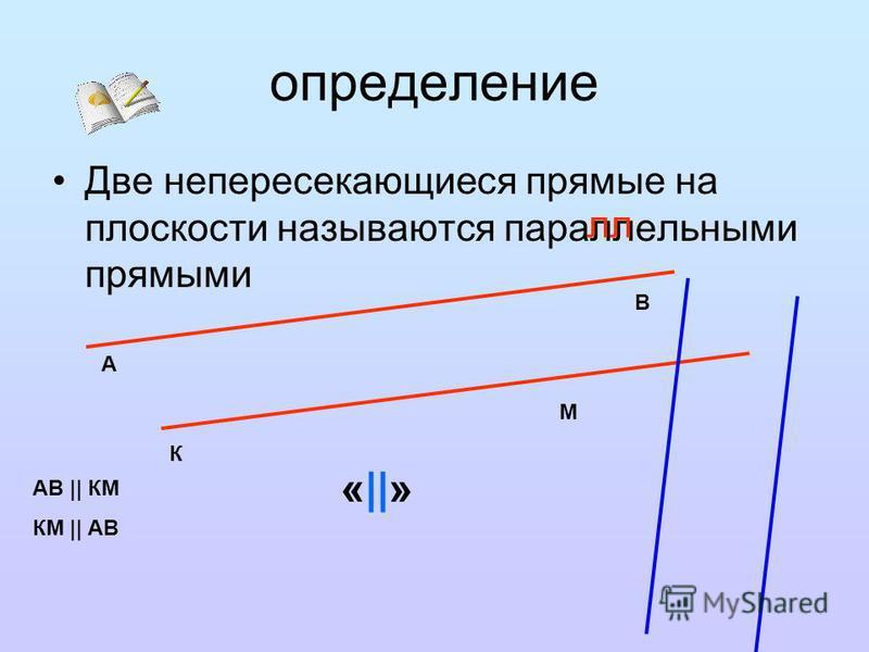 определение Две непересекающиеся прямые на плоскости называются параллельными прямыми лл А В К М АВ || КМ КМ || АВ «||»