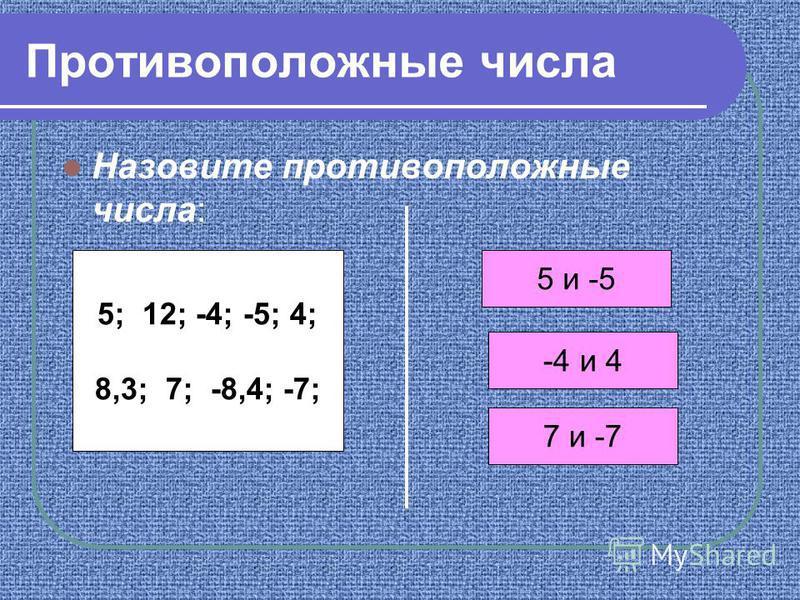 Назовите противоположные числа: Противоположные числа 5; 12; -4; -5; 4; 8,3; 7; -8,4; -7; -4 и 4 5 и -5 7 и -7