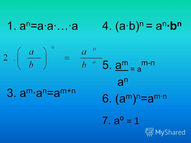 1. а n =a·a·…·a 3. а m ·а n =a m+n 4. (a·b) n = a n ·b n 5. а m = а m-n а n 6. (а m ) n =a m·n 7. a = 1