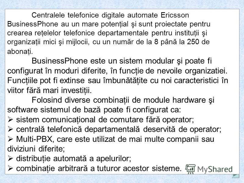CATEDRA MILITARĂ UTM mun. Chişinău Pregătirea tactico-specială Tema: PBX Ericsson Business Phone 50/250. Creat de Bubulici Leonid 2011