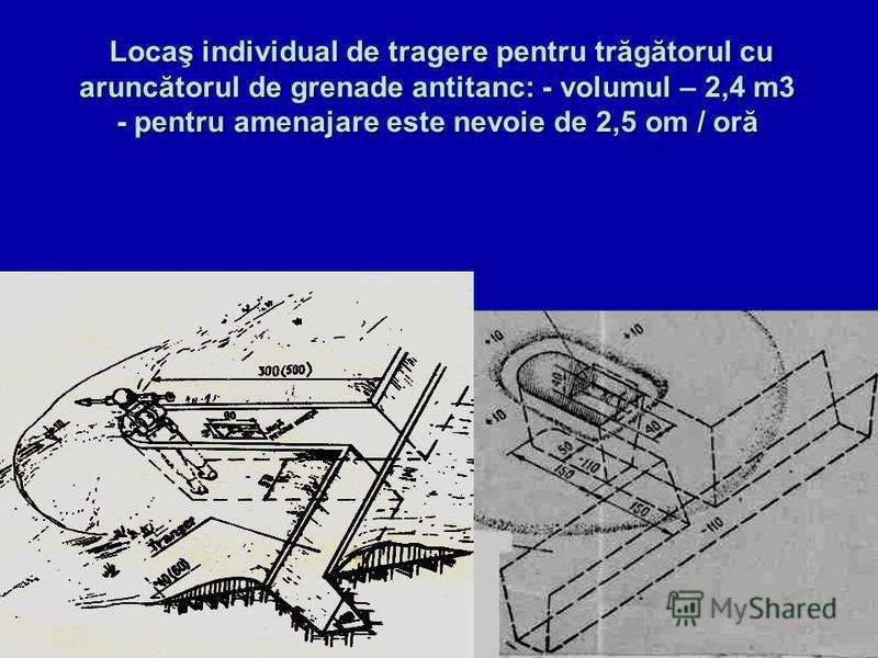 Locaş individual de tragere pentru trăgătorul cu aruncătorul de grenade antitanc: - volumul – 2,4 m3 - pentru amenajare este nevoie de 2,5 om / oră Locaş individual de tragere pentru trăgătorul cu aruncătorul de grenade antitanc: - volumul – 2,4 m3 -