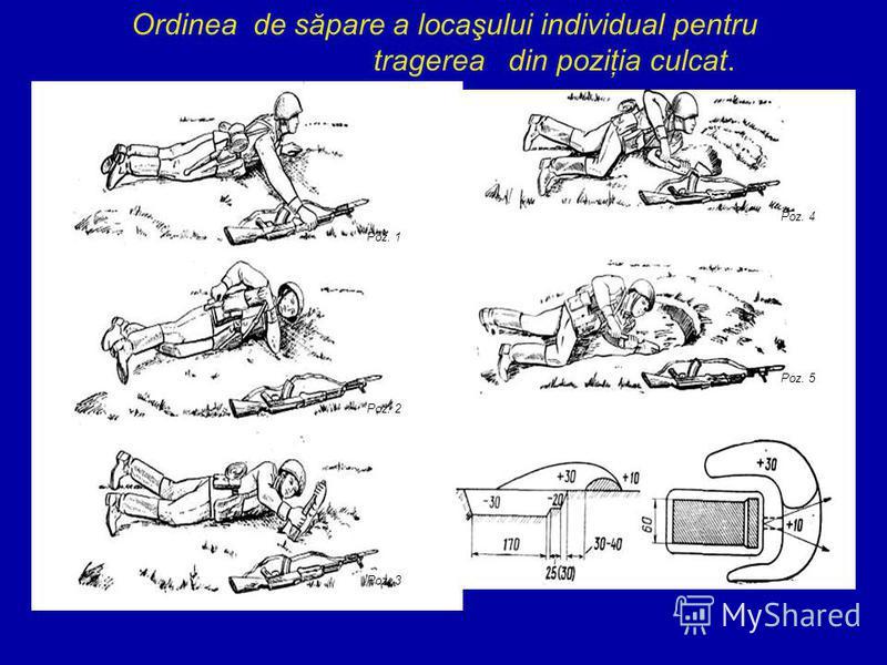 Ordinea de săpare a locaşului individual pentru tragerea din poziţia culcat. Poz. 1 Poz. 2 Poz. 3 Poz. 4 Poz. 5