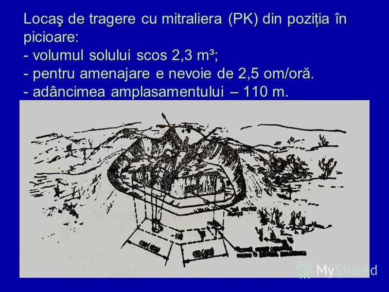 Locaş de tragere cu mitraliera (PK) din poziţia în picioare: - volumul solului scos 2,3 m³; - pentru amenajare e nevoie de 2,5 om/oră. - adâncimea amplasamentului – 110 m.