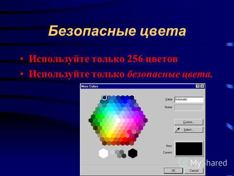 Безопасные цвета Используйте только 256 цветов Используйте только безопасные цвета.