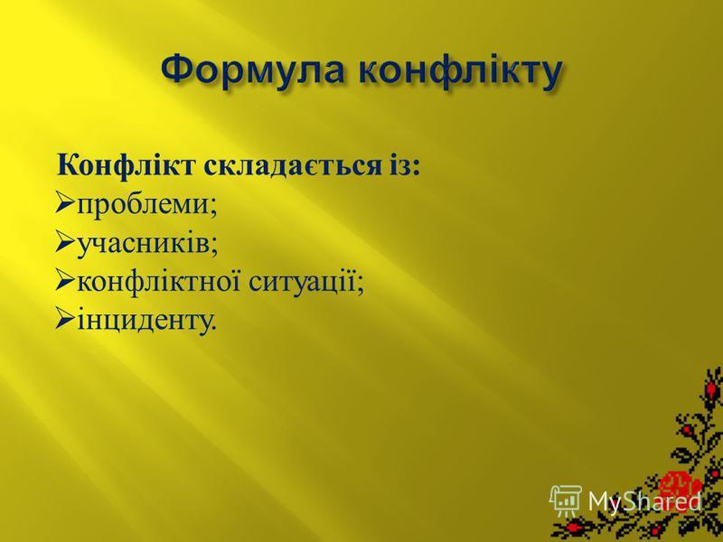 Конфлікт складається із: проблеми; учасників; конфліктної ситуації; інциденту.
