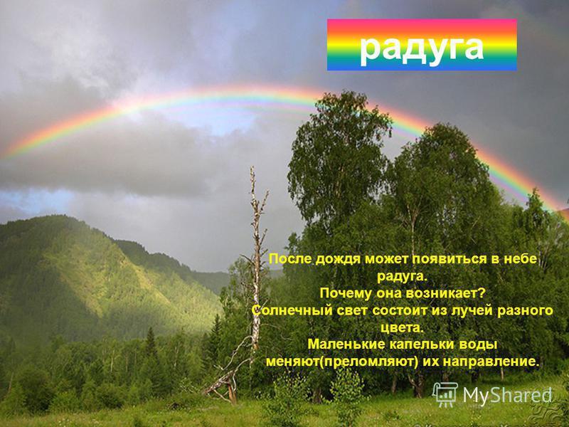 После дождя может появиться в небе радуга. Почему она возникает? Солнечный свет состоит из лучей разного цвета. Маленькие капельки воды меняют(преломляют) их направление. радуга