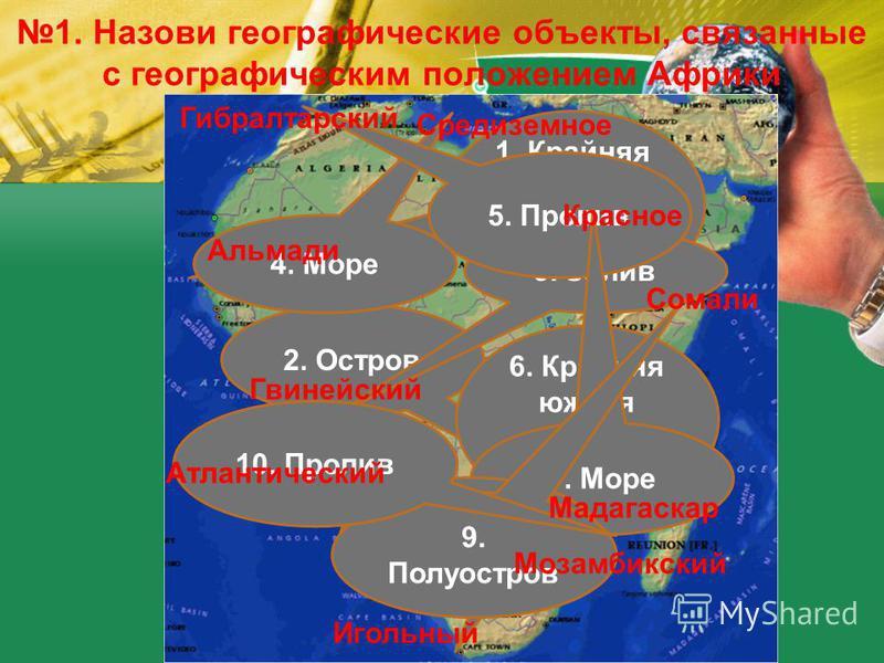1. Назови географические объекты, связанные с географическим положением Африки 1. Крайняя западная точка материка 2. Остров 3. Залив 4. Море 5. Пролив 6. Крайняя южная точка материка 7. Море 8. Океан 9. Полуостров 10. Пролив Альмади Мадагаскар Гвиней