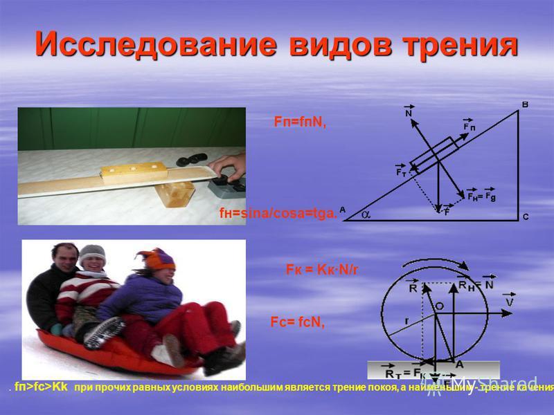 Исследование видов трения Fп=fпN, fн=sina/cosa=tga. Fк = Kк·N/r Fc= fcN, fп>fc>Kk, т.. fп>fc>Kk при прочих равных условиях наибольшим является трение покоя, а наименьшим - трение качения.