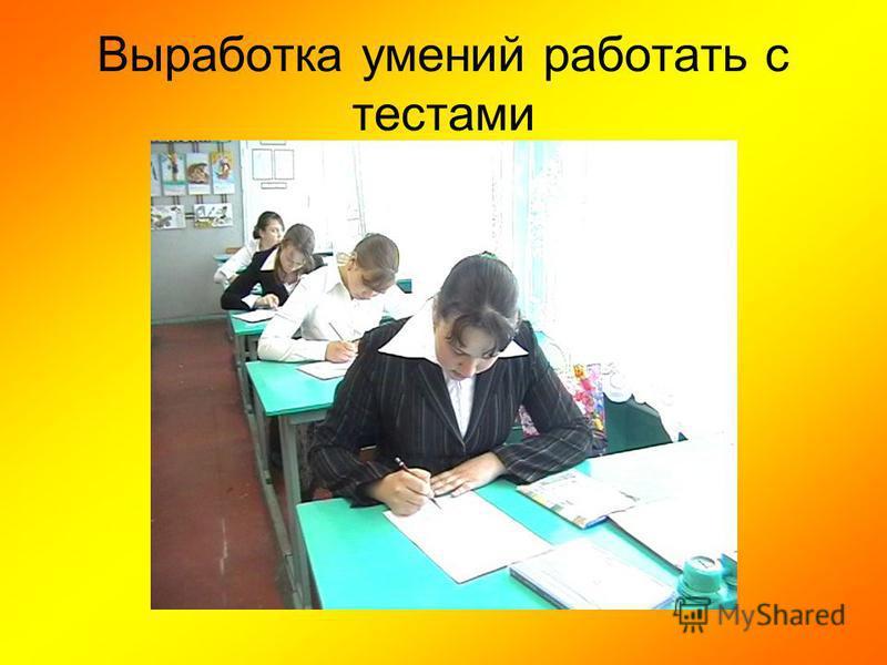 Выработка умений работать с тестами