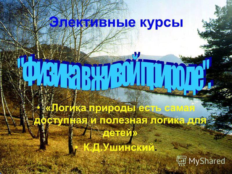 Элективные курсы «Логика природы есть самая доступная и полезная логика для детей» К.Д.Ушинский.