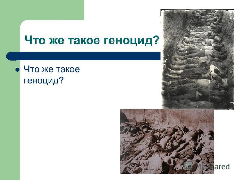 Что же такое геноцид?