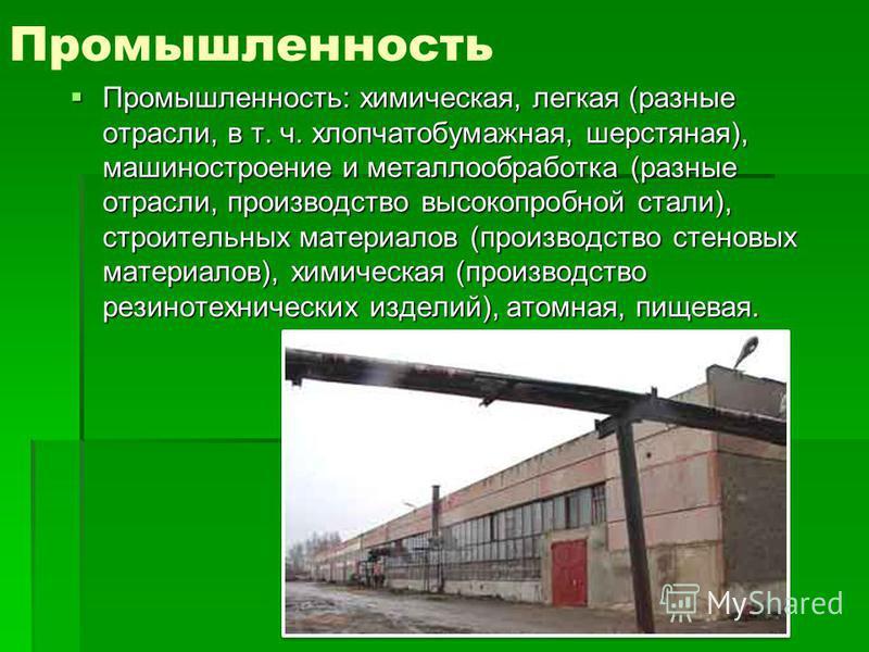 Промышленность Промышленность: химическая, легкая (разные отрасли, в т. ч. хлопчатобумажная, шерстяная), машиностроение и металлообработка (разные отрасли, производство высокопробной стали), строительных материалов (производство стеновых материалов),