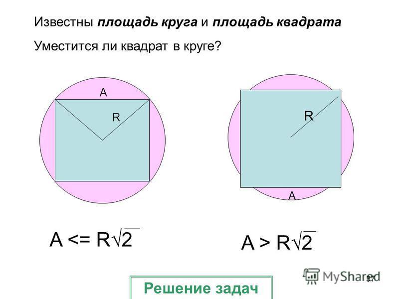 37 A R Известны площадь круга и площадь квадрата Уместится ли квадрат в круге? A R A <= R2 A > R2 Решение задач