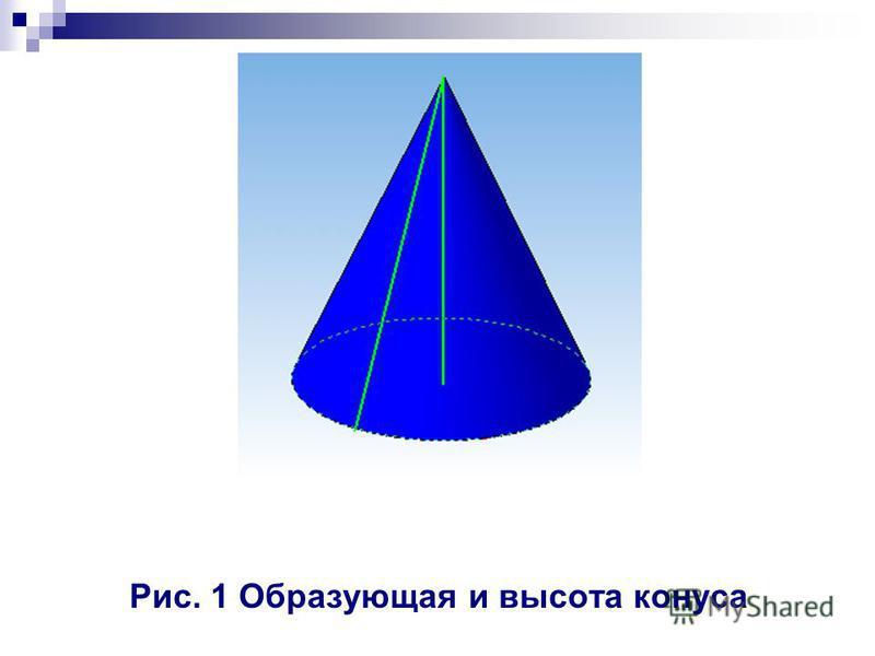 Рис. 1 Образующая и высота конуса