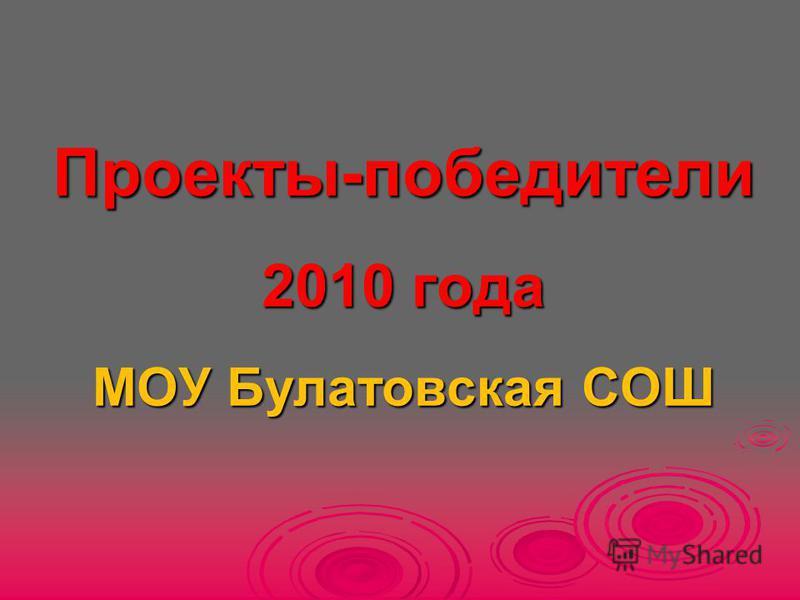Проекты-победители 2010 года МОУ Булатовская СОШ