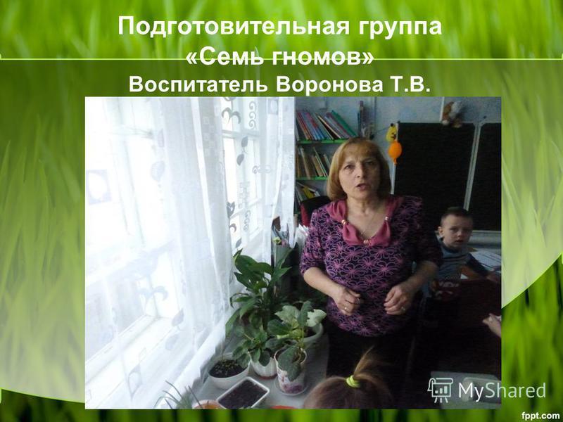 Подготовительная группа «Семь гномов» Воспитатель Воронова Т.В.