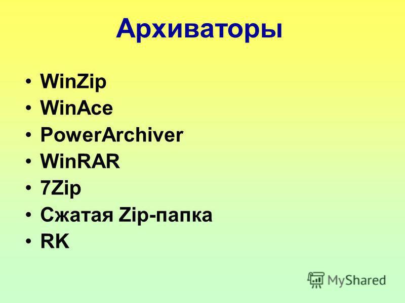 Архиваторы WinZip WinAce PowerArchiver WinRAR 7Zip Сжатая Zip-папка RK