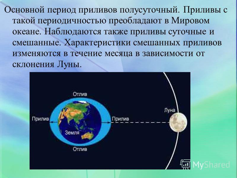 Основной период приливов полусуточный. Приливы с такой периодичностью преобладают в Мировом океане. Наблюдаются также приливы суточные и смешанные. Характеристики смешанных приливов изменяются в течение месяца в зависимости от склонения Луны.