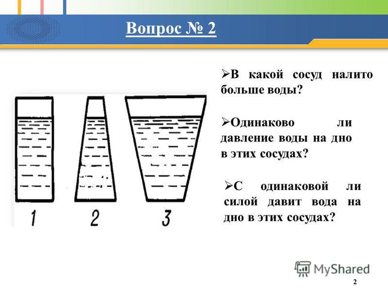 Вопрос 2 В какой сосуд налито больше воды? Одинаково ли давление воды на дно в этих сосудах? С одинаковой ли силой давит вода на дно в этих сосудах? 2
