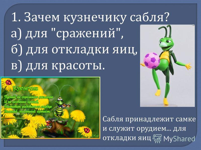 1. Зачем кузнечику сабля? а) для сражений, б) для откладки яиц, в) для красоты. Сабля принадлежит самке и служит орудием... для откладки яиц