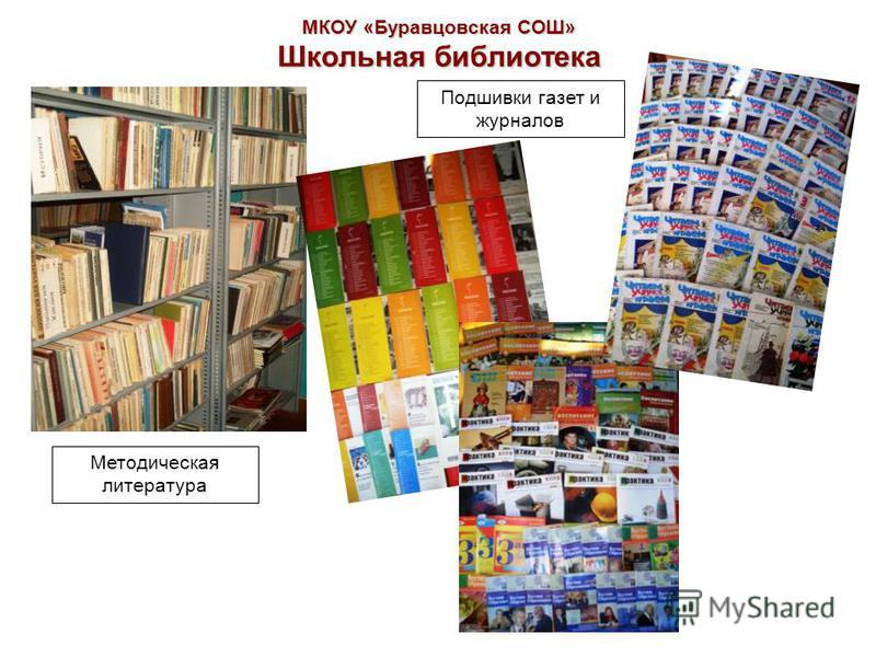 МКОУ «Буравцовская СОШ» Школьная библиотека Методическая литература Подшивки газет и журналов