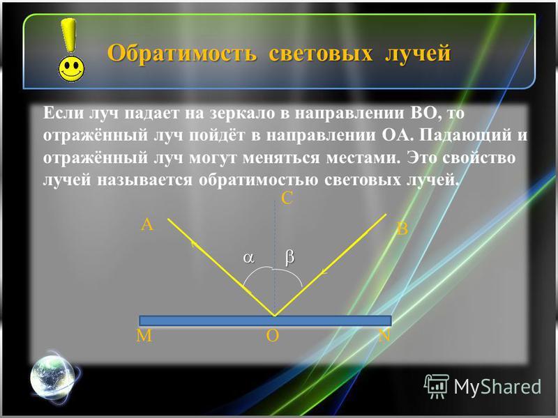 Обратимость световых лучей B А MNO C Если луч падает на зеркало в направлении BO, то отражённый луч пойдёт в направлении OА. Падающий и отражённый луч могут меняться местами. Это свойство лучей называется обратимостью световых лучей.