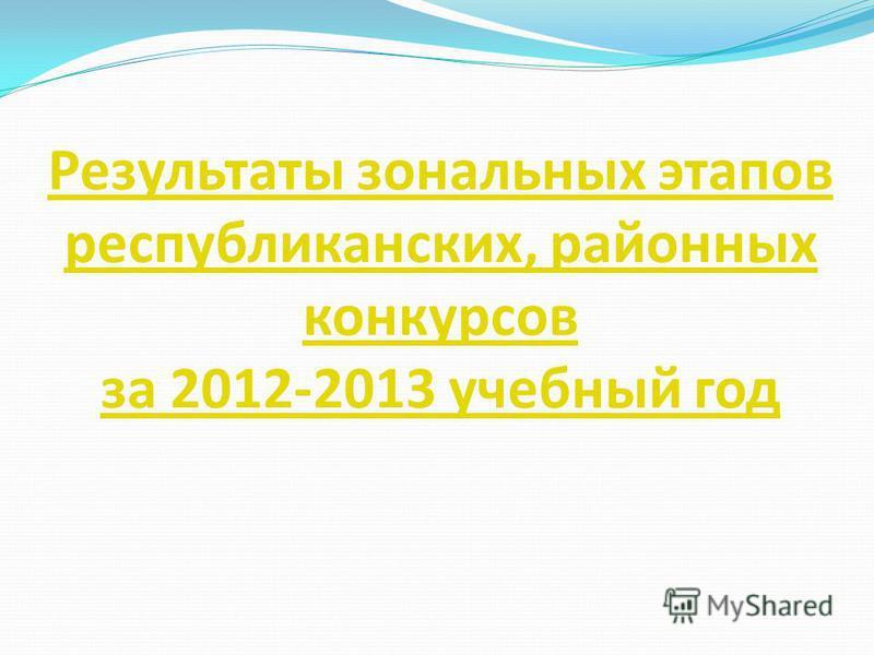 Результаты зональных этапов республиканских, районных конкурсов за 2012-2013 учебный год