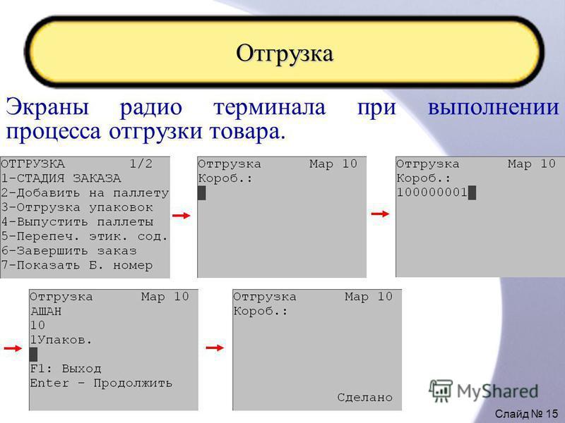 Слайд 15 Отгрузка Экраны радио терминала при выполнении процесса отгрузки товара.